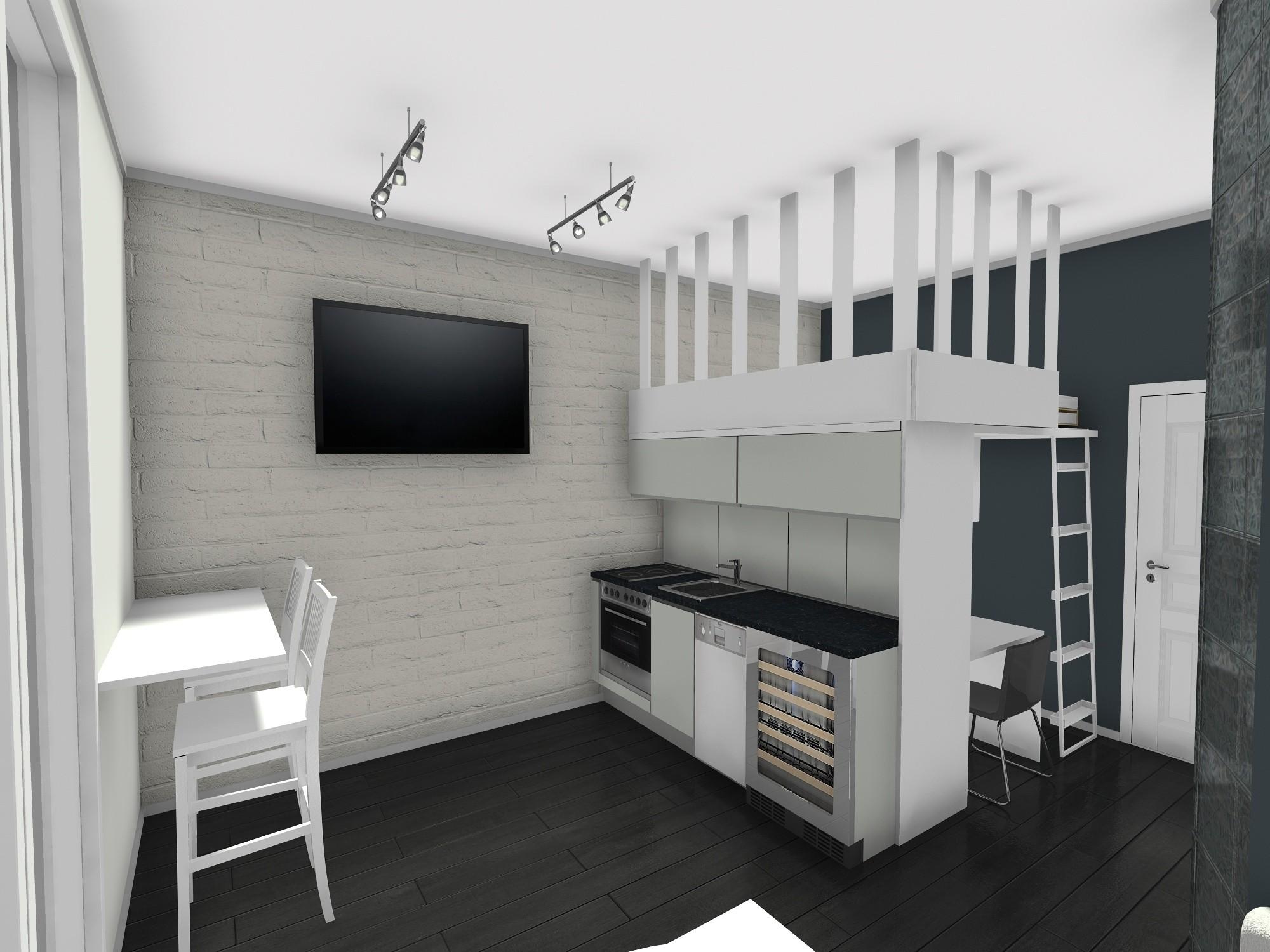 loft stan mikrostan kuhinja