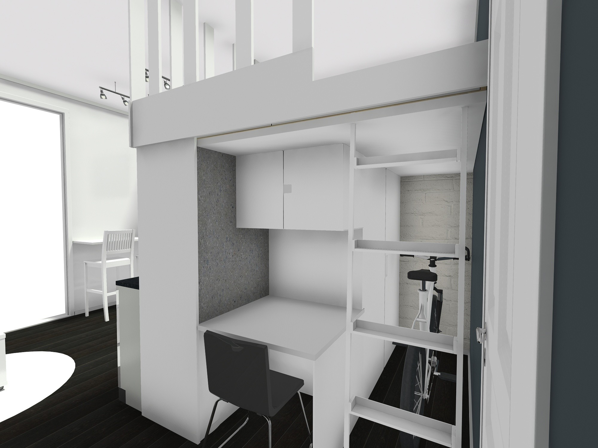 loft stan mikrostan visoki strop radni kutak