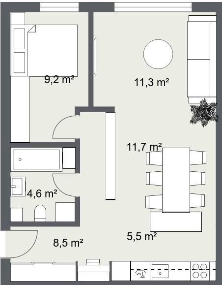 pregradna polica tlocrt dvosobni stan 52 m2
