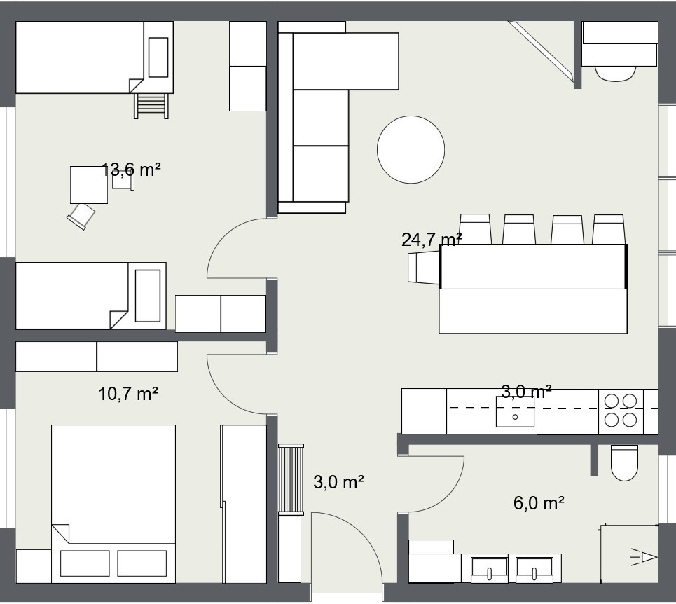 trosoban stan 60 m2 tlocrt kuhinjski otok