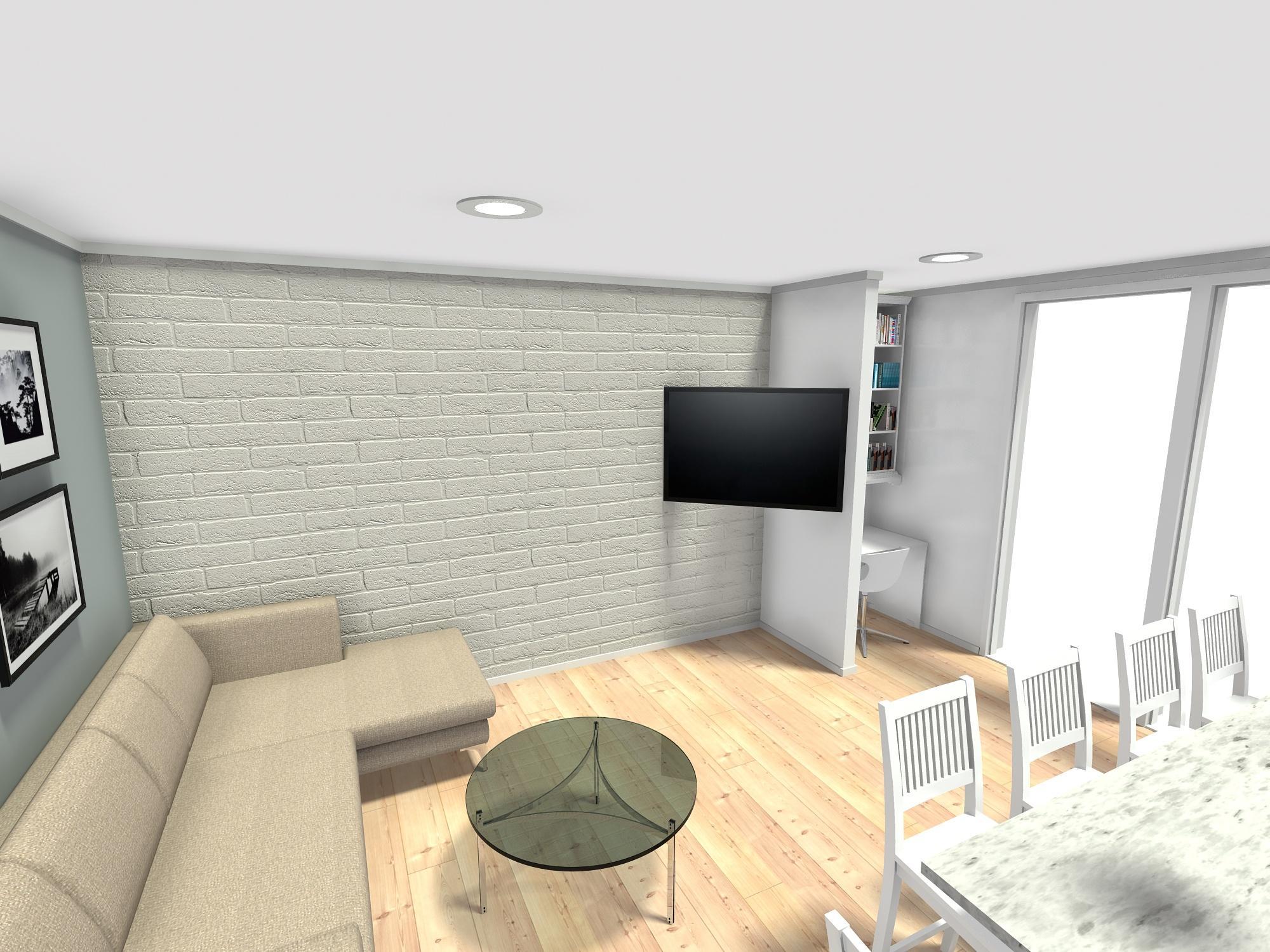 trosoban stan 60 m2 dnevni boravak kuhinjski otok