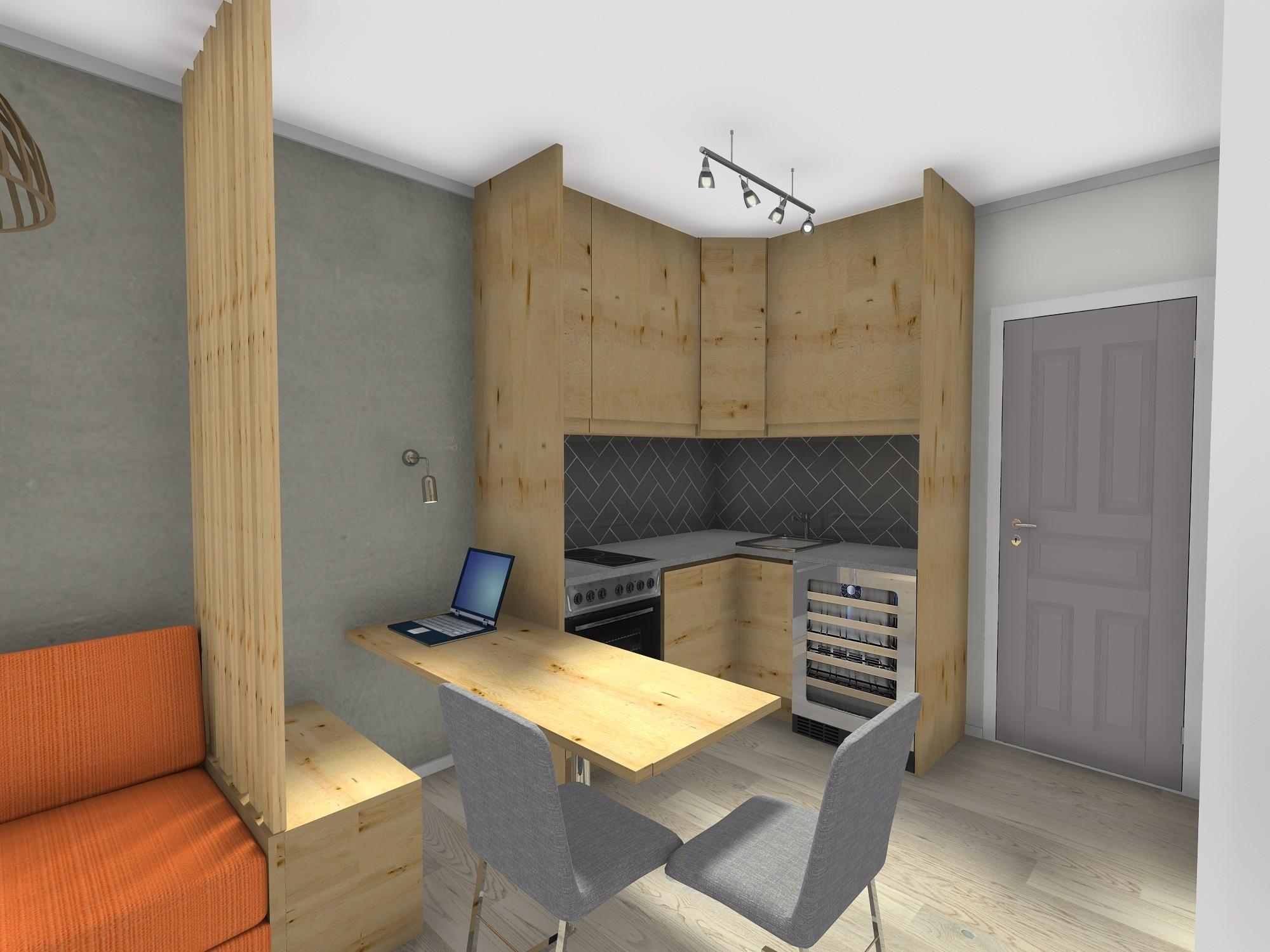 pregradni regal mikrostan 20 m2 kuhinja i blagovaonica