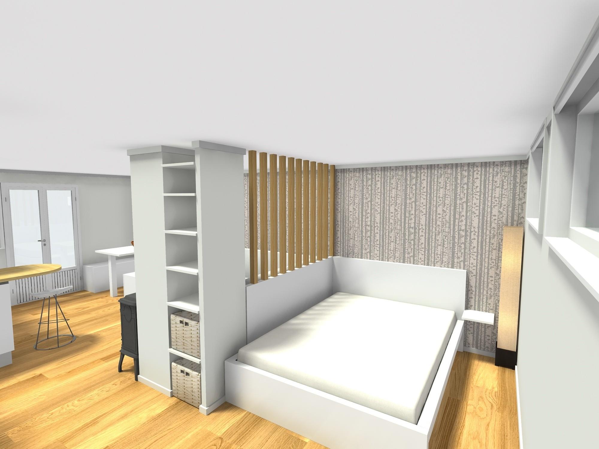 spavaći dio mikrostan 25 m2 srušeni zidovi