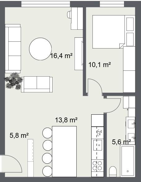 dvosoban stan 52 m2 tlocrt veliki dnevni boravak