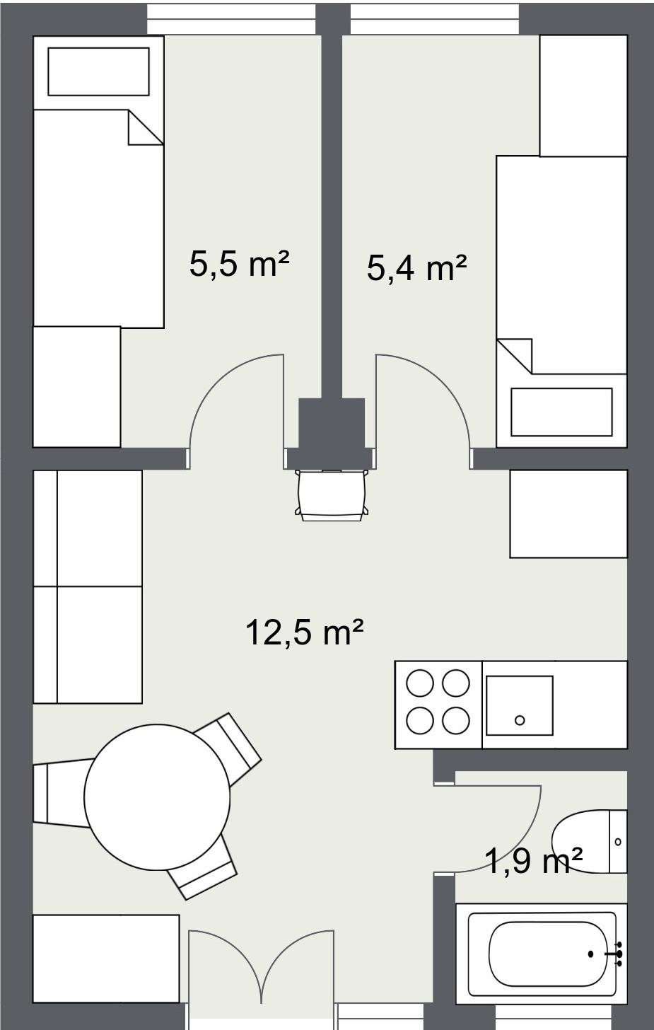 tlocrt, stan 25 m2 varijanta 1- srušeni zidovi
