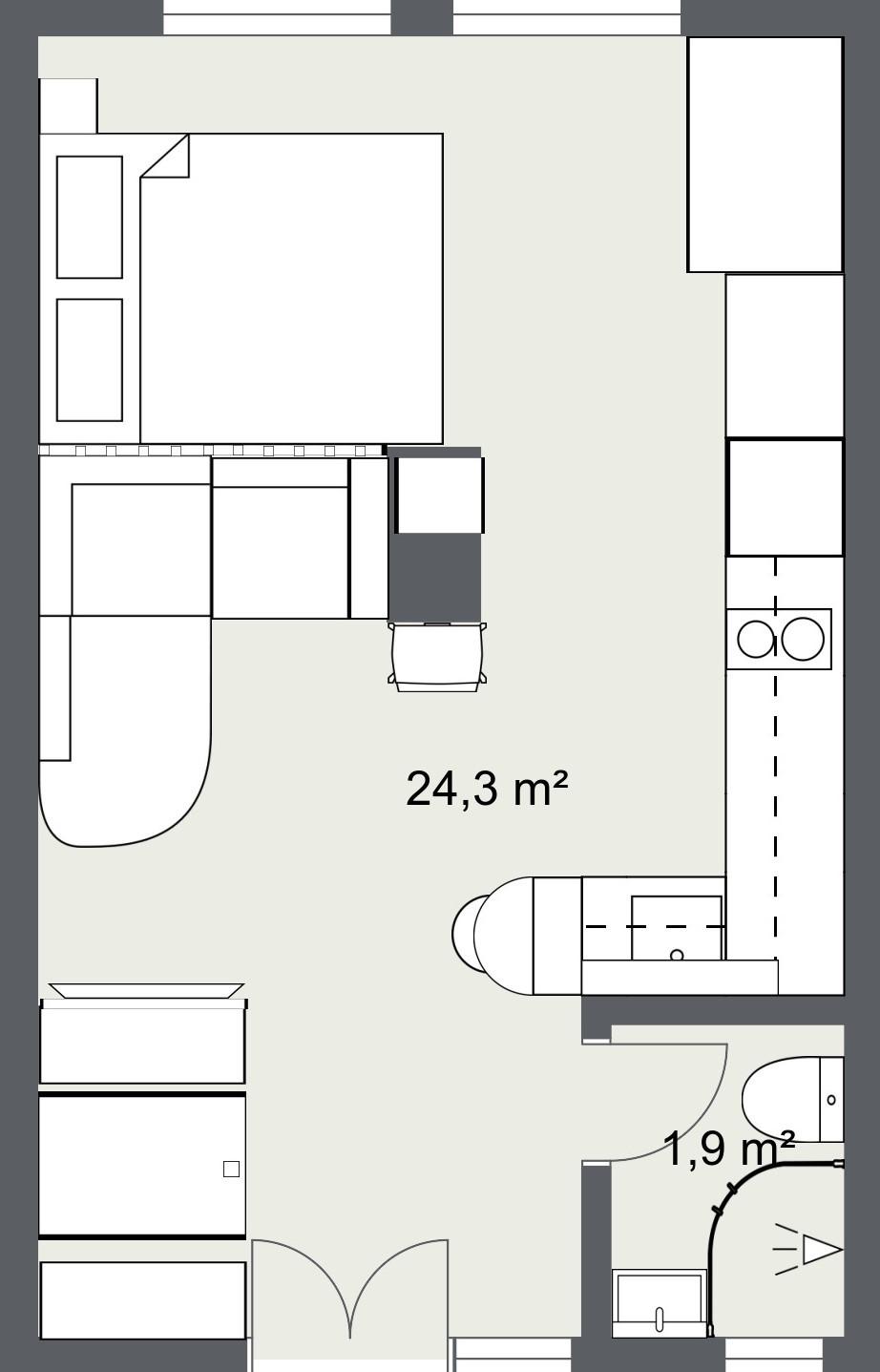 tlocrt stan 25 m2, varijanta 1- srušeni zidovi