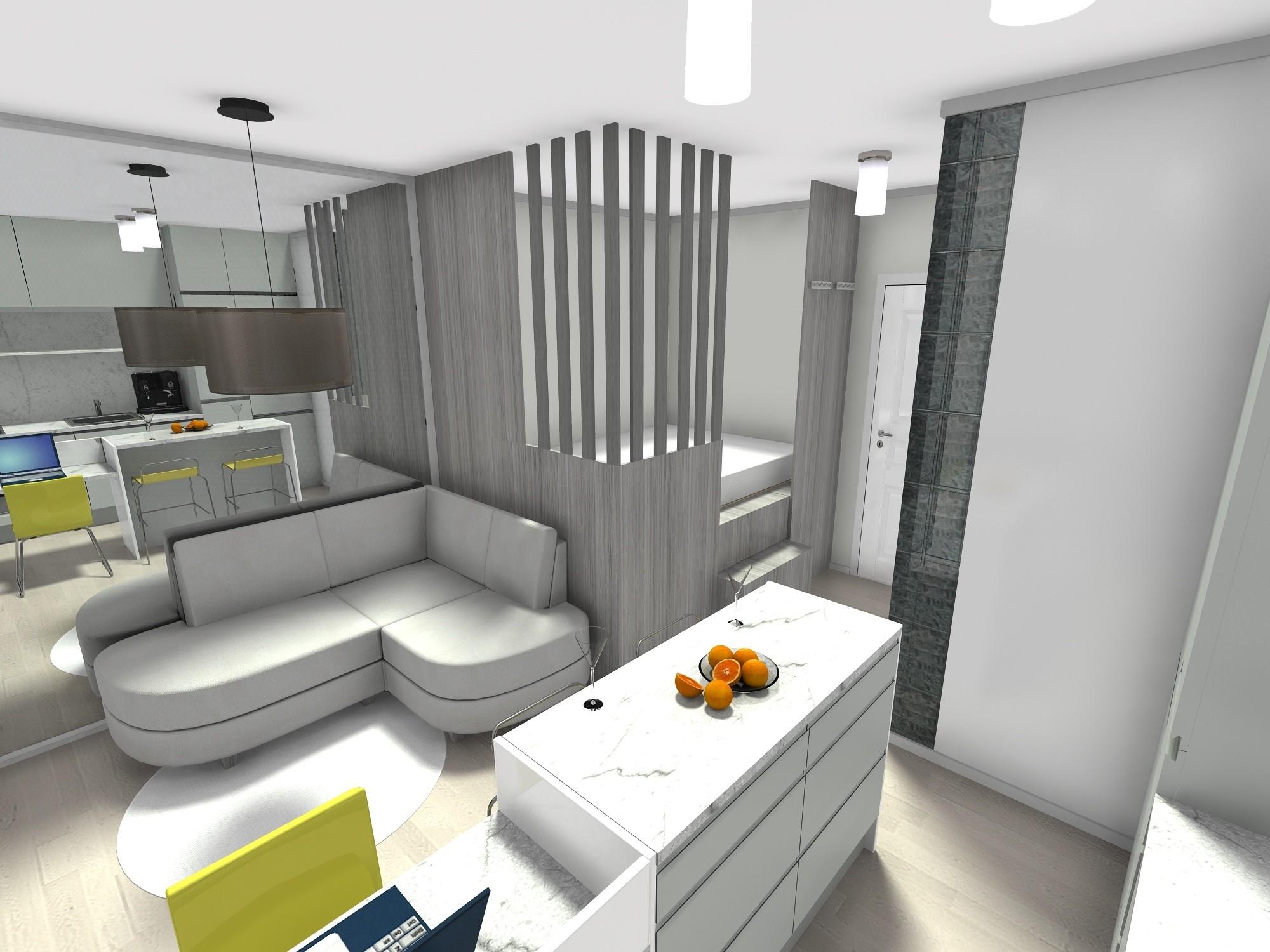 mikrostan 20 m2, kuhinjski otok