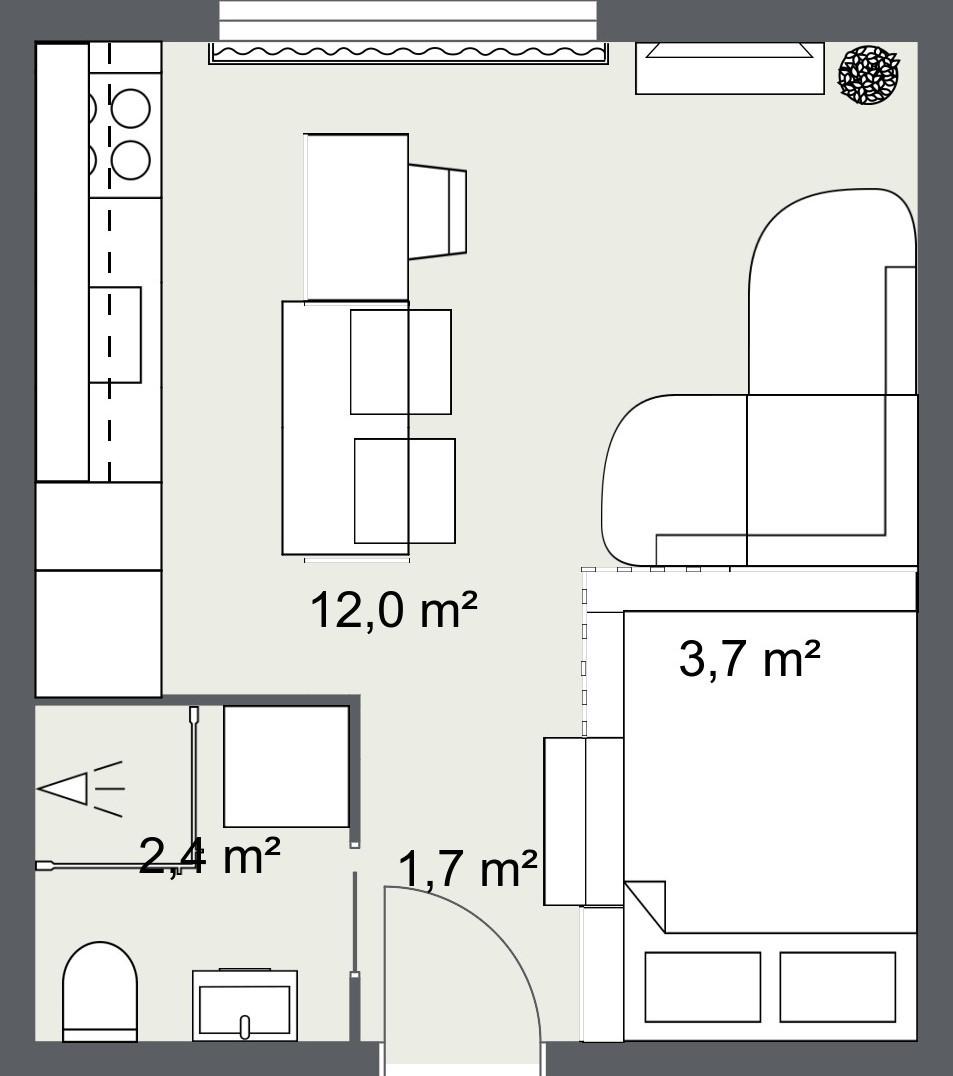 mikrostan 20 m2, tlocrt- kuhinjski otok