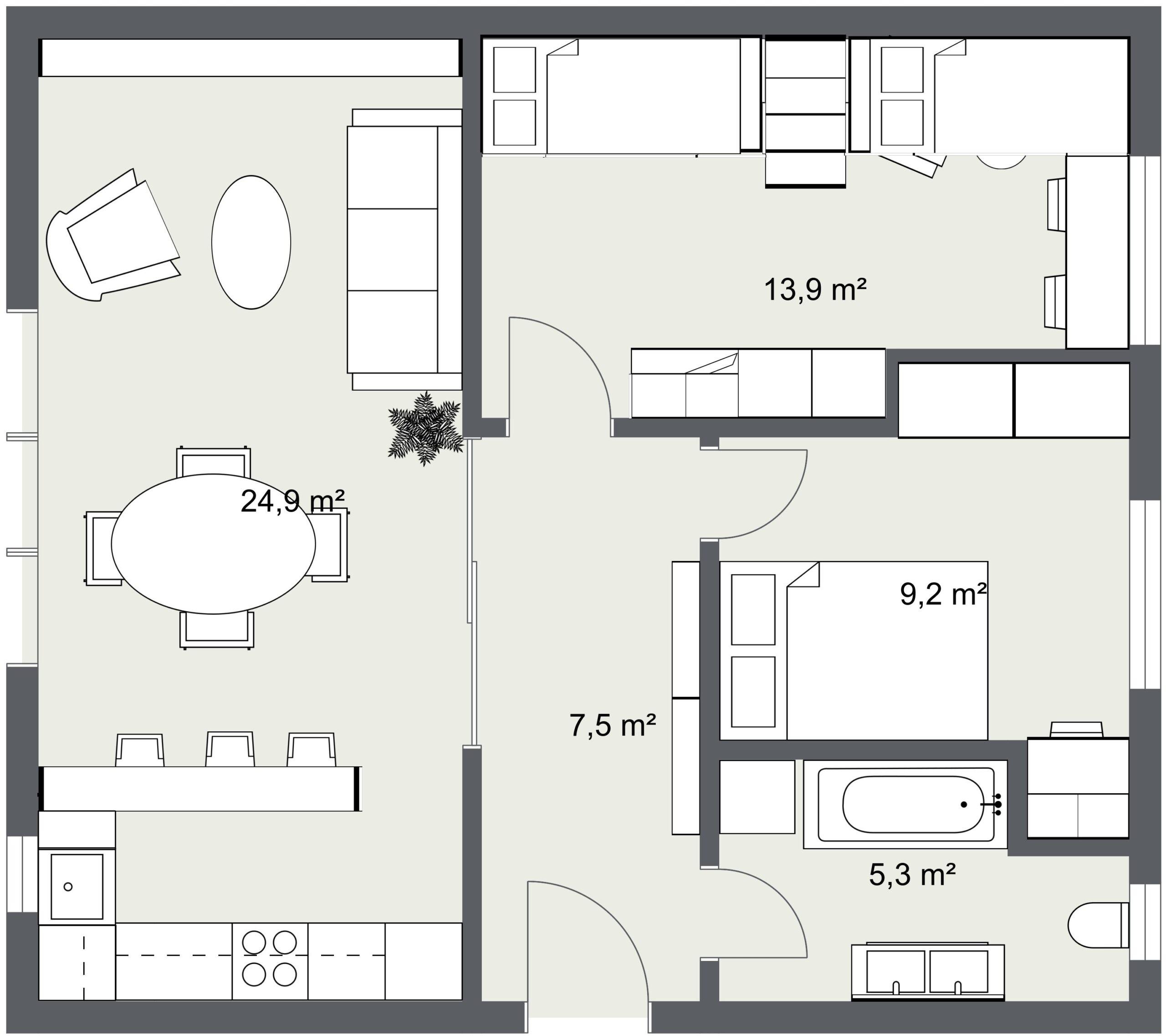 trosoban stan 60 m2 tlocrti tinejdžerska soba